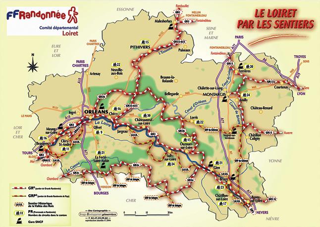 Carte des sentiers randonnées GR 132 St Loup de Gonois